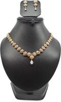 Bling N Beads American Diamond Zircon Necklace Set Stone Jewel Set Gold, Silver