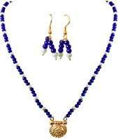 Surat Diamond Surat Diamonds Gold Plated Pendant, Blue Stone & Shell Pearl Necklace & Earring Set For Women Metal Jewel Set (Blue, White, Gold)