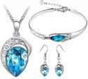 Cyan Ocean Blue Austrian Crystal Leaf Design Necklace Set Combo With Crystal Earrings And Charming Crystal Bracelet Alloy Jewel Set - Blue