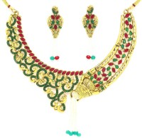 Zaveri Pearls Peacock Designer Alloy Jewel Set Green, Red, White