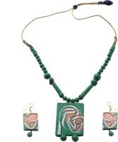 Alekip Fashionable Long Tursel Terracotta Ceramic Jewel Set Green