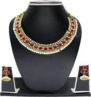 Zaveri Pearls Mesmerizing Mumtaz Zinc Jewel Set Pink, White