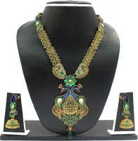 Zaveri Pearls Gorgeous Peacock Necklace Alloy Jewel Set Red, Blue, Green, White