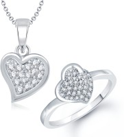 VK Jewels VK Jewels Full Stone Heart Shape Combo Ring & Pendant Alloy Jewel Set (Silver)