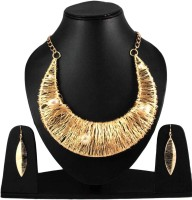 Uni Fashion Fair Designer Necklace Earring Brass, Alloy Jewel Set Gold