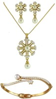 DG Jewels Bollywood Collection Of Elegant 1 Pendant And 1 Bracelet -DGPS 017 Alloy Jewel Set White