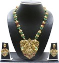 Zaveri Pearls Temple Jewellery Alloy Jewel Set - Green, Red