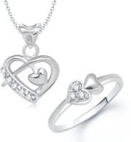 VK Jewels VK Jewels Beauteous Heart Shape Combo Ring & Pendant Alloy Jewel Set (Silver)