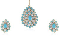 Vastradi Pretty Paachi Pendant Set Brass, Alloy Jewel Set Blue, White