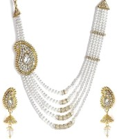 Mukawil Paisley White And Gold Beaded Alloy Jewel Set (White)