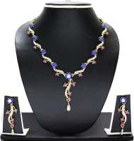 Zaveri Pearls Antique Long Necklace Alloy Jewel Set Blue, Pink, White