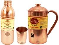 Indian Art Villa Copper Plain Jug No.4 With 1 Copper Glass With 1 Bisleri Bottle No.1 Water Jug Set (2.3 L, Pack Of 3)