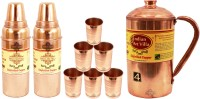 IndianArtVilla Set Of 1 Copper Jug Pitcher With 6 Copper Glass Tumbler & 2 Thermos Design Copper Water Bottle Water Jug (4.5 L, Pack Of 9)