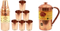 IndianArtVilla Set Of 1 Copper Jug Pitcher With 6 Copper Glass Tumbler & 1 Thermos Design Copper Water Bottle - Home Hotel Restaurant Tableware Water Jug (3.8 L, Pack Of 8)