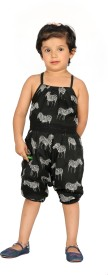 Fuschia Tribe Animal Print, Woven Girl's Jumpsuit