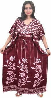 Indiatrendzs Floral Print Cotton Women's Kaftan
