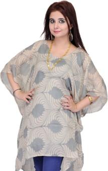 Exotic India Printed 50% Wool, 50% Silk With Viscose Inner Women's Kaftan