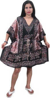 Indiatrendzs Animal Print Polyester Women's Kaftan