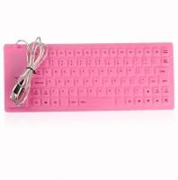 Q3 Pink Ultra Slim Wired USB Flexible Keyboard (Pink)
