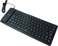 Outre Lightweight Ultra-Slim Portable Flexible Foldable Silent Silicon Wired USB Tablet Keyboard (Black)