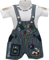 Baloons Dungaree For Baby Boys & Baby Girls White