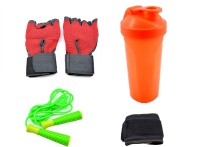 Sports 101 Jump Rope, Glove, Wrist Wrap And Shaker Bottles Gym & Fitness Kit
