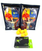 Stiga Kontra Raquets(Set Of 2), Covers (2) & Cup TT Balls (6) Table Tennis Kit