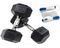 Krazy Fitness 2 Pc Hexagonal Dumbbells 2.5 Kg Each With Digital Skipping Rope Gym & Fitness Kit