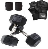 Krazy Fitness Hexagonal Dumbbell Pair (5 Kg Each) With Gym Gloves & Sweat Bands Gym & Fitness Kit