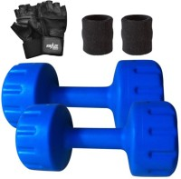 Krazy Fitness 2pc Pvc Coloured Dumbbells 1 Kg Each With Gym Gloves & Sweat Bands Gym & Fitness Kit