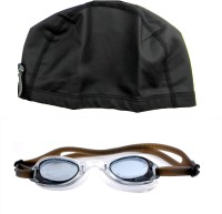 Sports 101 Goggles And PU High Quality Cap Senior Swimming Kit