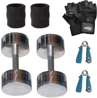 Krazy Fitness Steel Chrome Dumbbell Pair (1 Kg Each) With Power Grips,Gym Gloves & Sweat Bands Gym & Fitness Kit