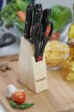 KAISERHOFF Knife Block Set of 6 Steel, Wooden Knife Set: Kitchen Knife