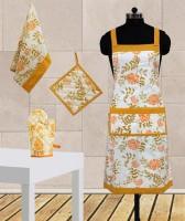 Dekor World Yellow Cotton Kitchen Linen Set Pack Of 4