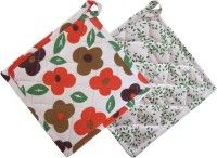 Smart Home Orange, Green Cotton Kitchen Linen Set Pack Of 2 - KLSEBGYPWGN237BS