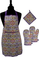 MISONA WORLD Purple, Yellow Cotton Kitchen Linen Set Pack Of 4