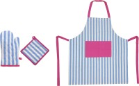 Cotonex Striped Cotton Kitchen Linen Set Blue, Pink, Pack Of 3