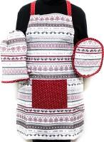 Barkat Red, Multicolor Cotton Kitchen Linen Set Pack Of 3