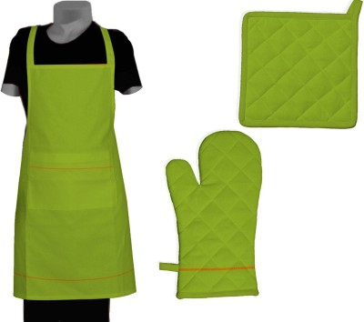 Chinson Grillz Cotton Kitchen Linen Set Green, Pack Of 3