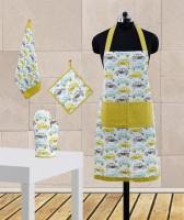 Dekor World Green Cotton Kitchen Linen Set Pack Of 4