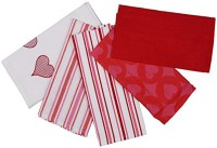 London Lady Red, White Cotton Kitchen Linen Set Pack Of 5
