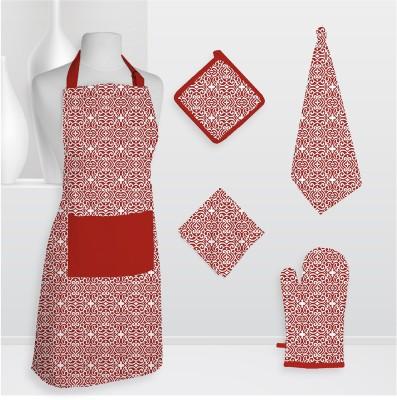 Smart Home Textile Smt Kls Cotton Kitchen Linen Set Red, Pack Of 5 - KLSE6Z8MFCWTMGEU