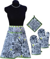 MISONA WORLD Black, Green Cotton Kitchen Linen Set Pack Of 4