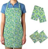 Smart Home Green, White Cotton Kitchen Linen Set Pack Of 5