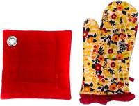 Barkat Red, Multicolor Cotton Kitchen Linen Set Pack Of 2