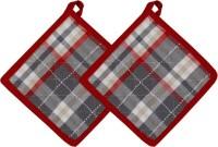 Cotonex Red, Grey Cotton Kitchen Linen Set Pack Of 2