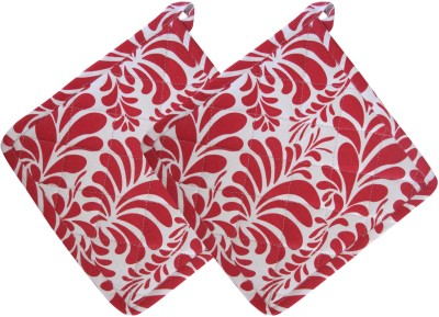 Smart Home Red, White Cotton Kitchen Linen Set Pack Of 2