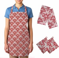 Smart Home Red, White Cotton Kitchen Linen Set Pack Of 5