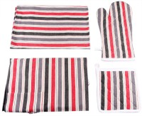 Belle Maison Drill Striped Cotton Kitchen Linen Set Multicolor, Pack Of 4