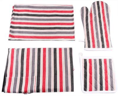 Belle Maison Drill Striped Cotton Kitchen Linen Set Multicolor, Pack Of 4